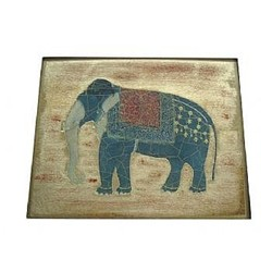 Elephant no.7 Tablemat rectanglular small, 20 x 25cm, gold leaf