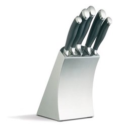 Master Class - Deluxe Knife block set, 5 piece, stainless steel block