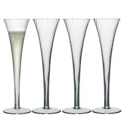 Aurelia Set of 4 Champagne flutes, 20cl, clear/straight optic