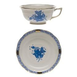 Apponyi Teacup and saucer, 24cl - 15cm, blue