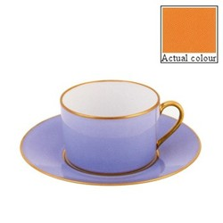 Sous le Soleil Teacup and saucer straight sided, 15cl, sunflower with classic matt gold band