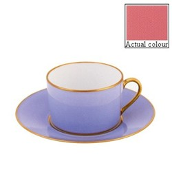 Sous le Soleil Teacup and saucer straight sided, 15cl, old rose with classic matt gold band