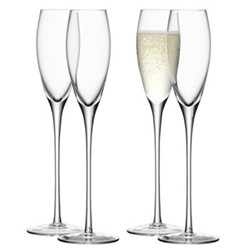 Wine Set of 4 Champagne flutes, 16cl, clear