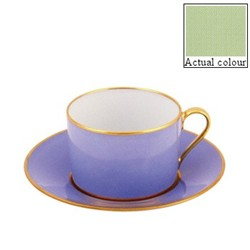 Sous le Soleil Breakfast cup and saucer straight sided, 25cl, pastel green with classic matt gold band