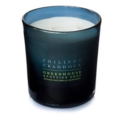Greenhouse & Potting Shed 2 wick candle, H10 x W9cm, blue