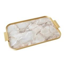 Ribbed serving tray, L46 x W30cm, onyx