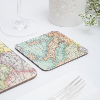 Set of 12 personalised map coasters 10 x 10cm