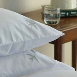 Swallows - 400 Thread Count Square standard pillowcase, W65 x L65cm, soft steel with pastel green edge on white sateen cotton