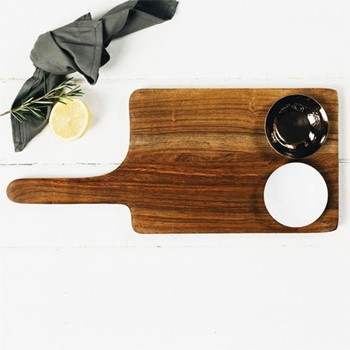 Metallic Luxe Serving board & bowl set, 19.5 x 45cm, sheesham wood