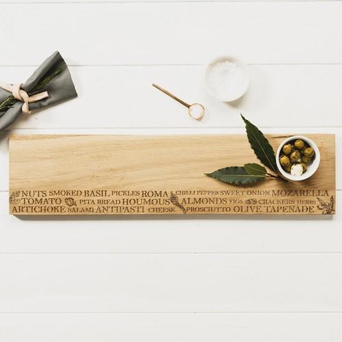 Large antipasti serving platter, L60 x W15 x H1.8cm, Oak