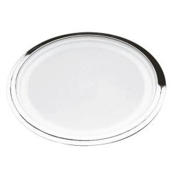 Fidelio Round tray with glass base, 34cm, Christofle Silver