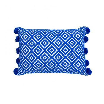 Kabuki Rectangular cushion with pompoms, L50 x W35cm, indigo/white
