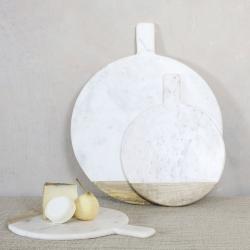 Bwari Round marble board, 2 x 41 x 32cm, White Marble & Mango Wood