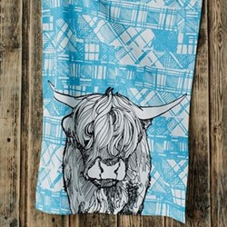 Highland Cow Tea Towel, 48 x 76cm
