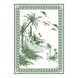 Les Depareillées - Vues d'Orient Set of 4 towels, 50 x 70cm, green