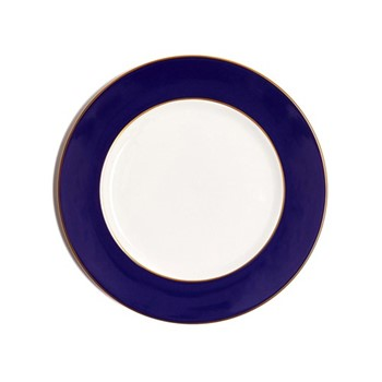 Border Dinner plate, 27cm, crisp white with cobalt blue border/burnished gold edge