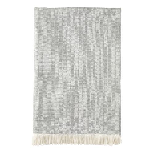 Herringbone Merino bed throw, 230 x 150cm, Mist/White