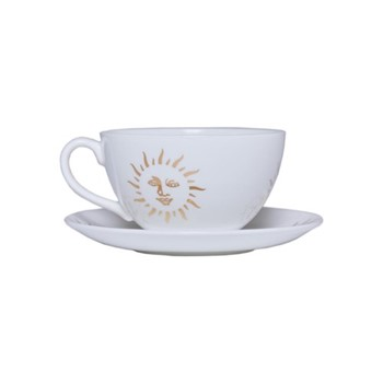 Sun Teacup and saucer, 150ml, white and gold