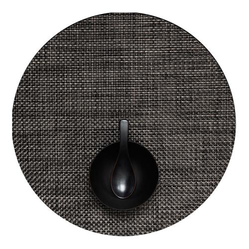 Basketweave Set of 4 round placemats, 38cm, Carbon