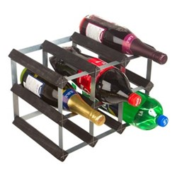 9 bottle wine and soft drink rack, H24 x W35 x D23cm, black ash/galvanised steel