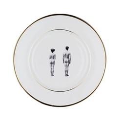 Models Dinner plate, 27cm, crisp white/burnished gold edge