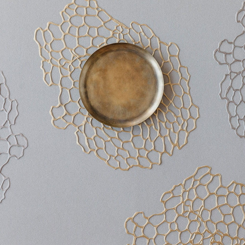 Sea Lace Set of 8 oval placemats, W36 x L48cm, Brass