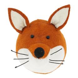 Decorative Plaques Wall mounted fox head, H23 x W22 x D30cm, Orange Felt