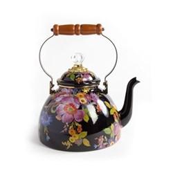 Flower Market Tea kettle, 3 quart, black