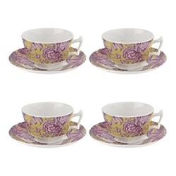 Kingsley Set of 4 tea cups and saucers, ochre
