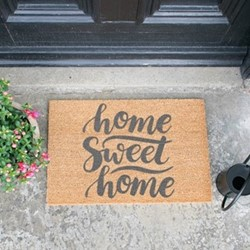 Home Sweet Home Doormat, L60 x W40 x H1.5cm, grey