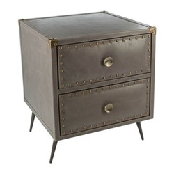 Leather Studded Chest of drawers, H45 x W45 x D45cm, taupe