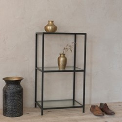 Nakuru Shelving unit, 80 x 45 x 30cm, iron & glass
