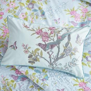 Chinese Bluebird Cushion, L50 x W30 x H10cm, aqua