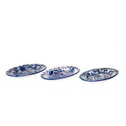 Granada Set of 3 assorted oval dishes, L21 x W13 x H2.5cm, blue