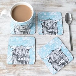 Highland Cow Set of 4 coasters, 11 x 11cm
