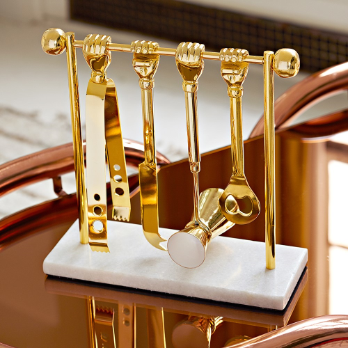 Muse Barbell Barware Set, W9.25 x D9.53 x H24.13cm, Brass