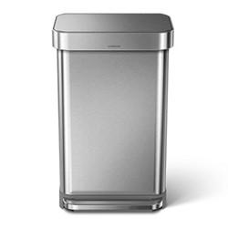 Rectangular pedal bin, H65.5cm - 45 litre, brushed stainless steel