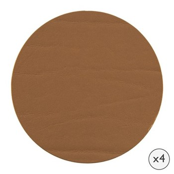 Set of 4 round leather coasters, D10cm, bronze