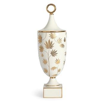 Botanist Ganja urn, Dia15.24 x H48.26 cm, white/metallic gold