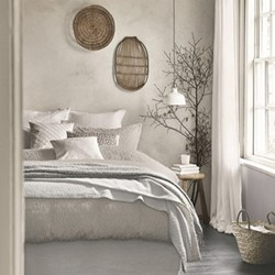 Nara Super king size duvet cover, L220 x W260cm, cloud grey