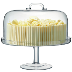 Serve Cakestand and dome, 34.5cm and 32cm, clear