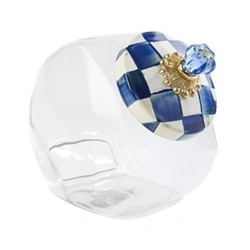 Royal Check Cookie jar, W15.24 x H20.32cm, blue & white