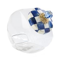 Royal Check Cookie jar, W15.24 x H20.32cm, blue & white