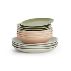 Noah 12 piece dinner set, pink/green/grey