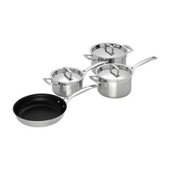 3 Ply Stainless Steel 4 piece saucepan set, 16 and 18cm saucepan, 20cm deep casserole and 24cm non-stick frying pan