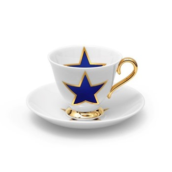 Lucky Stars Teacup and saucer, crisp white & cobalt blue/burnished gold details