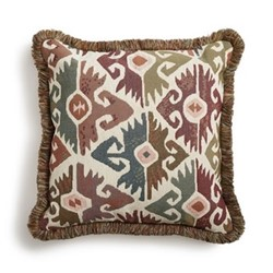 La Merce Square cushion, ikat design