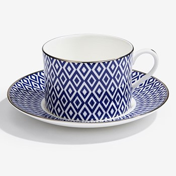 Aragon Teacup & saucer, midnight blue & white