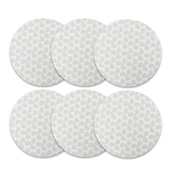 Helice Chalk Set of 6 round tablemats, 25cm, chalk/white
