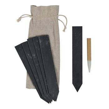 Set of 6 tags, H19.5 x D0.5 x W3cm, black/slate